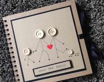 Photo album - scrapbook- memory book- ancestry -family history-hand decorated- button- stickmen- family memories-