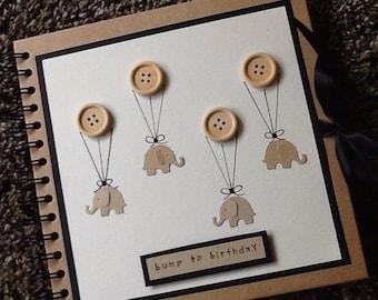 Baby Photo album - scrapbook- memory book-new baby gift- mummy- baby shower gift- pregnancy- hand decorated- buttons - kraft
