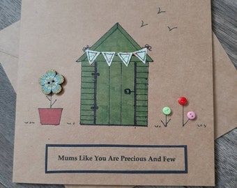 Mum card-birthday-shed-flowers-personalised-card for mummy- mothers day-mothering sunday-mum- grandmother-nanny-nanna
