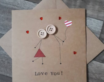 Anniversary card- birthday - valentines day -romantic - love- birthday - hand drawn- greetings- girlfriend- wife-boyfriend- husband