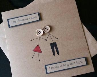Anniversary card- love- birthday card-valentines card- romance - girlfriend-boyfriend- husband - wife- stickman - kissing