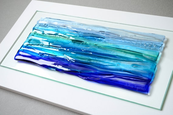 Glass Wall Art Large Ocean Fused, Fused Glass Artwork Wall