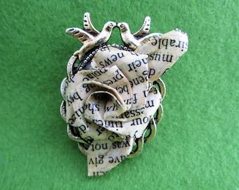 Paper flower brooch, paper flower jewellery, flower brooch, paper brooch, recycled paper jewellery, Jane Austen gifts, recycled jewellery