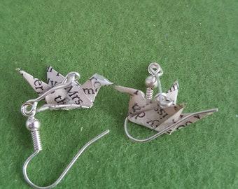 Bird dangle earrings, bird earrings, bird earrings dangle, book lover gift, book earrings, book jewellery, literary gifts, literary jewelry