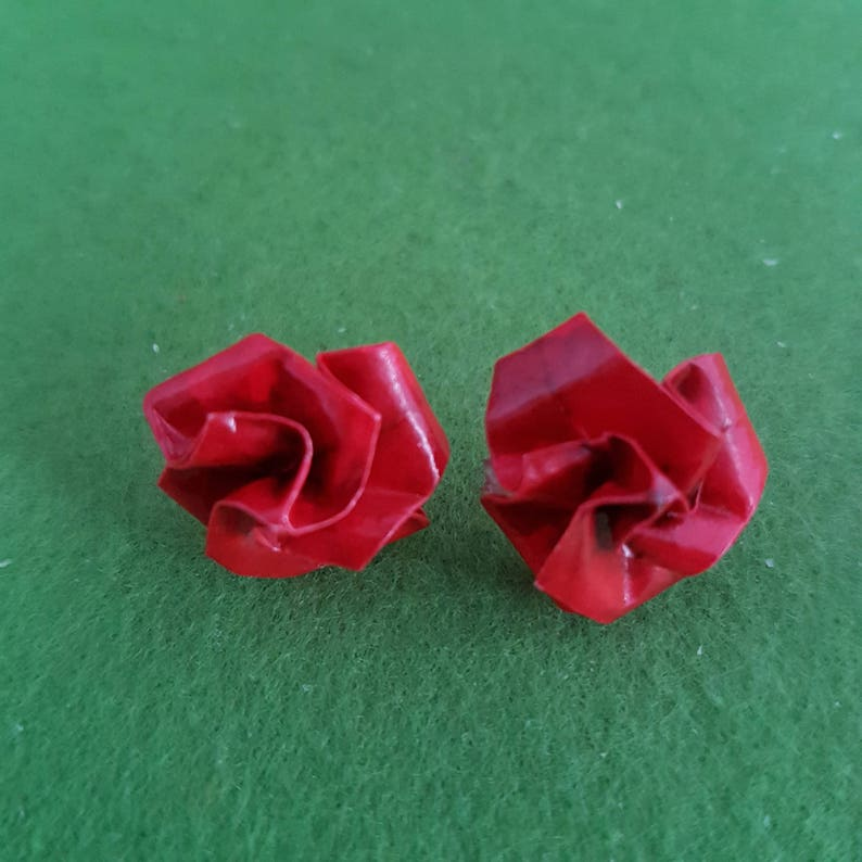 origami flower clip-on studs romantic paper anniversary gift wife partner congratulations Romantic red rose stud earring for girlfriend
