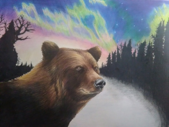 Art print POSTER Grizzly Bear