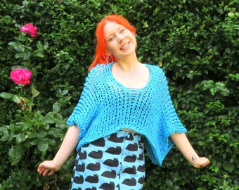 Ethically Handmade Summer Tops Knitted in Organic Cotton Tape Yarn