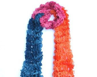 Multi-colored Ruffle Knit Scarf - Dot Knits Ethically Handmade Knitwear