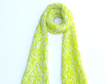 Yellow Spring Scarf Made From Recycled Paper - Dot Knits Bright, Textured and Ethical Scarves