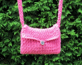 Ethically Handmade Knitted Bag Made From Cotton Tape Waste Yarn