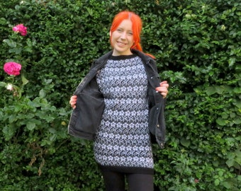 Ethically Handmade Dress with Flower Motif Knitted in Waste Yarn