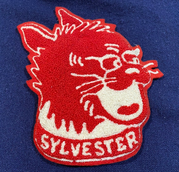 "Vintage Varsity Patch— Chenille Red alley cat ""SYL"