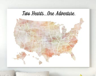 Two hearts. One adventure. United States Map 50 states All states USA map Gift to him Large us map poster Map of united states  poster