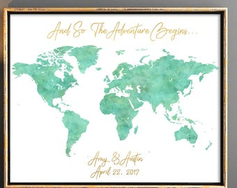Love story wedding guestbook world map personalized map etsy mint watercolor wedding guestbooks world map wedding guest book map guest book wedding map guest book unique guest book idea gumiabroncs Image collections