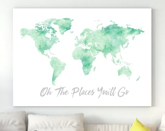 Mint watercolor map etsy world map room decor mint watercolor world map with quote oh the places youll go nursery watercolor world map world map printable gumiabroncs Images