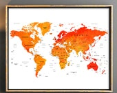World map wall art World map download World map printable with countries names and boarders Map of the world weltkarte watercolor world map