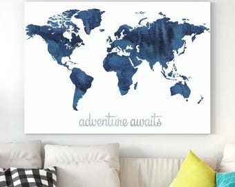 World map decor etsy world map adventure awaits navy blue world map wall art weltkarte world map printable room decor map of the world world map nursery gumiabroncs Gallery