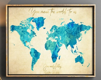 Map guest book etsy vintage styled blue turquoise wedding guestbook old paper world map guest book map wedding guest book you mean the world to us wedding gift gumiabroncs Image collections