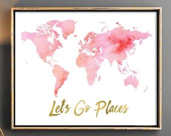 Pink world map, Watercolor Pink world map, World map digital download, Girl nursery watercolor map