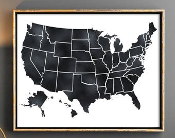 Black United States Map 50 states Black USA map us map poster Map of united states USA map poster Map wall art poster instant download