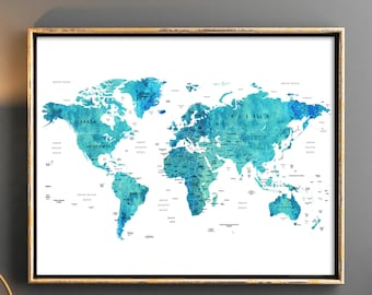 World map download World map printable with countries names and boarders Map of the world Blue map watercolor world map printable map