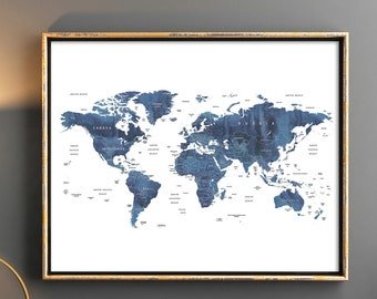 Printable World Map Etsy