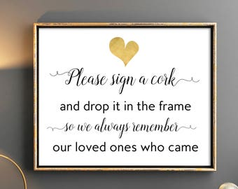 Wedding Guest Book Sign Please sign a cork and drop it in the frame Wedding printable signs 8x10 7x5 Wedding reception sign Welcome sign