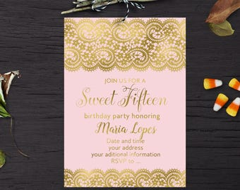 Sweet 15 invitation Etsy