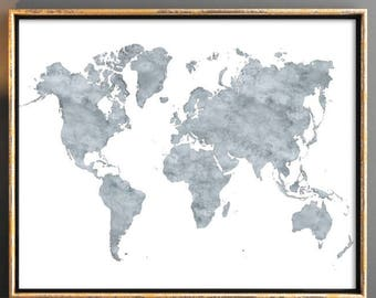 World map Grey world map with countries 16x20 Printable watercolor maps Map of the world world map watercolor world map printable map