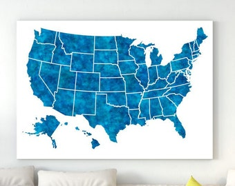 Gray United States Map with names abbreviations 50 states All | Etsy