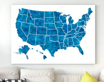 United States Map 50 states All states USA map Large us map poster Navy blue Map of united states USA map poster Map wall art poster