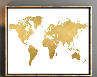 Gold world map etsy gold world map download map poster map wall art digital download gold nursery poster world map map download print world map 12x24 10x8 gumiabroncs Image collections