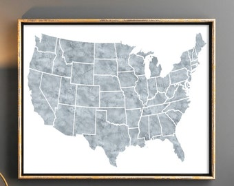 USA map us map grey usa map map of united states usa map poster map wall art watercolor map poster grey map 10x8 18x24 instant download
