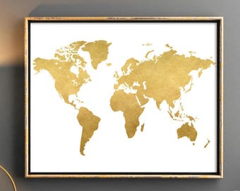 Gold world map etsy gold world map world map printable map poster map wall art weltkarte poster poster world map world map nursery print world map 12x16 gumiabroncs Choice Image