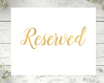 wedding reserved sign reserved for family sign printable etsy