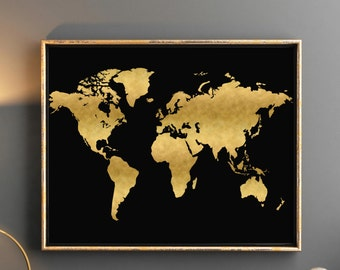 Black gold world map etsy printable world map large gold world map 36x24 printable printable world map gold nursery map gold gumiabroncs Images