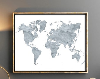 World map Grey world map with countries Printable watercolor maps Map of the world world map watercolor world map printable map digital
