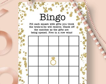 Gold confetti Bridal shower game Bingo Printable Bridal game Wedding Shower Bingo Gold and white bridal shower game Bingo party brsg02