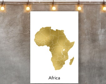 Africa continent map | Etsy