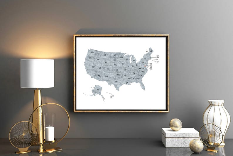 Gray United States Map with names abbreviations 50 states All states USA  map US poster Gray Map of united states USA Map wall art poster