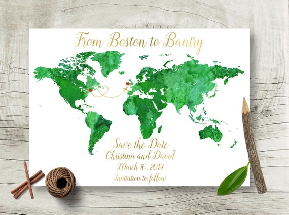 Save the date destination wedding card world map wedding save etsy image 0 gumiabroncs Choice Image