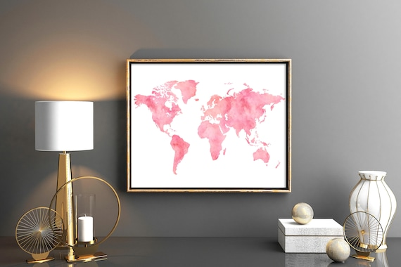 Blush pink world map decor watercolor world map download world etsy image 0 gumiabroncs Image collections