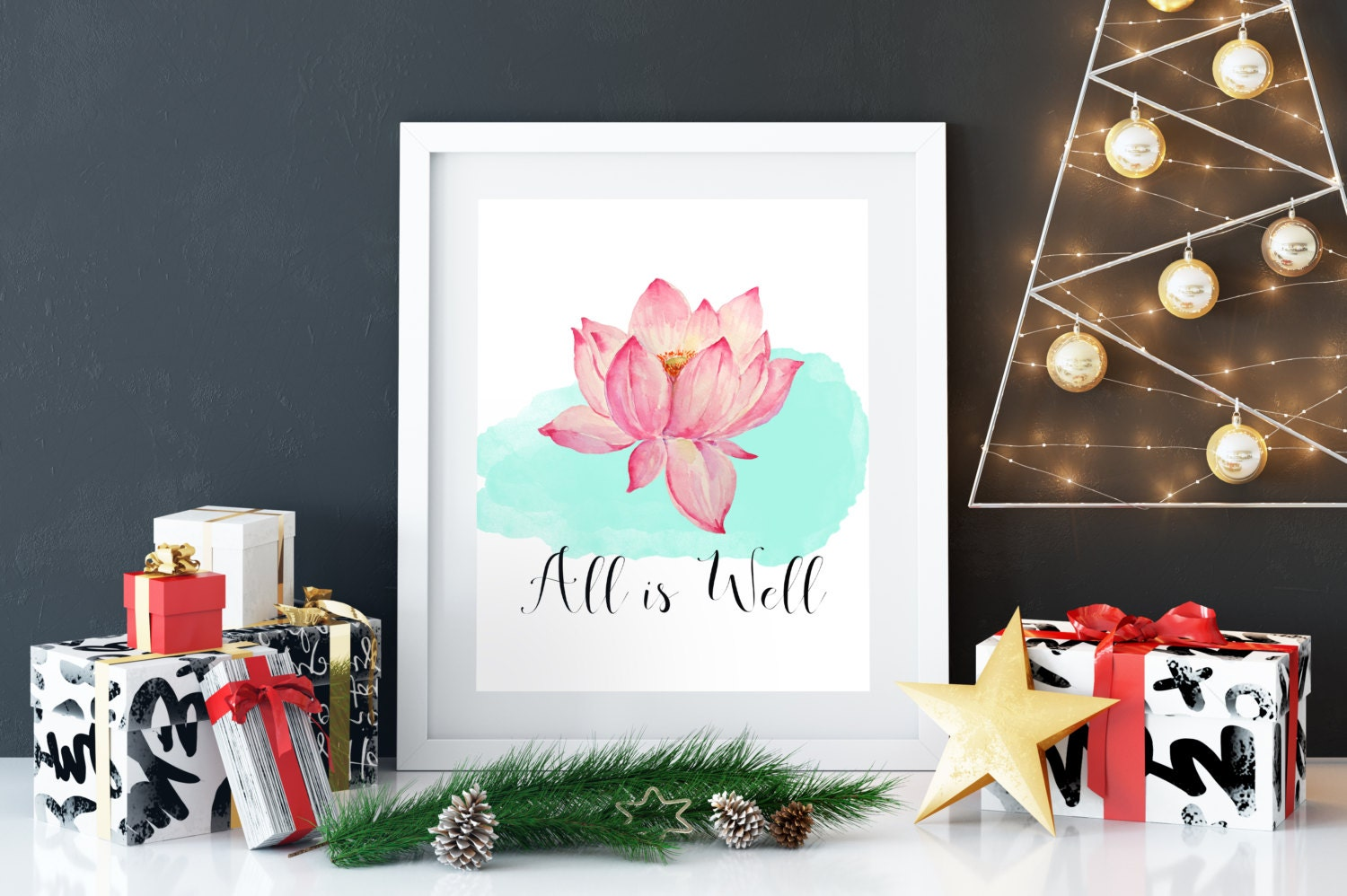 Lotus Flower Print All Is Well Quote Inspirational Friend Gift Etsy