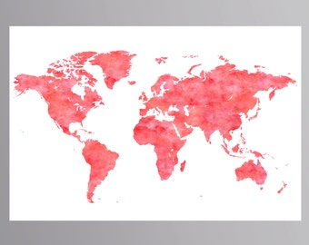 Coral world map poster Coral nursery World map printable Large world map Watercolor world map Coral wall art Coral map Coral nursery decor