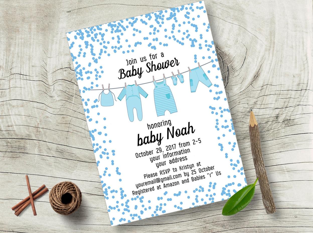 20496108a3690 Garçon corde à linge bébé douche invitation confettis bleu   Etsy