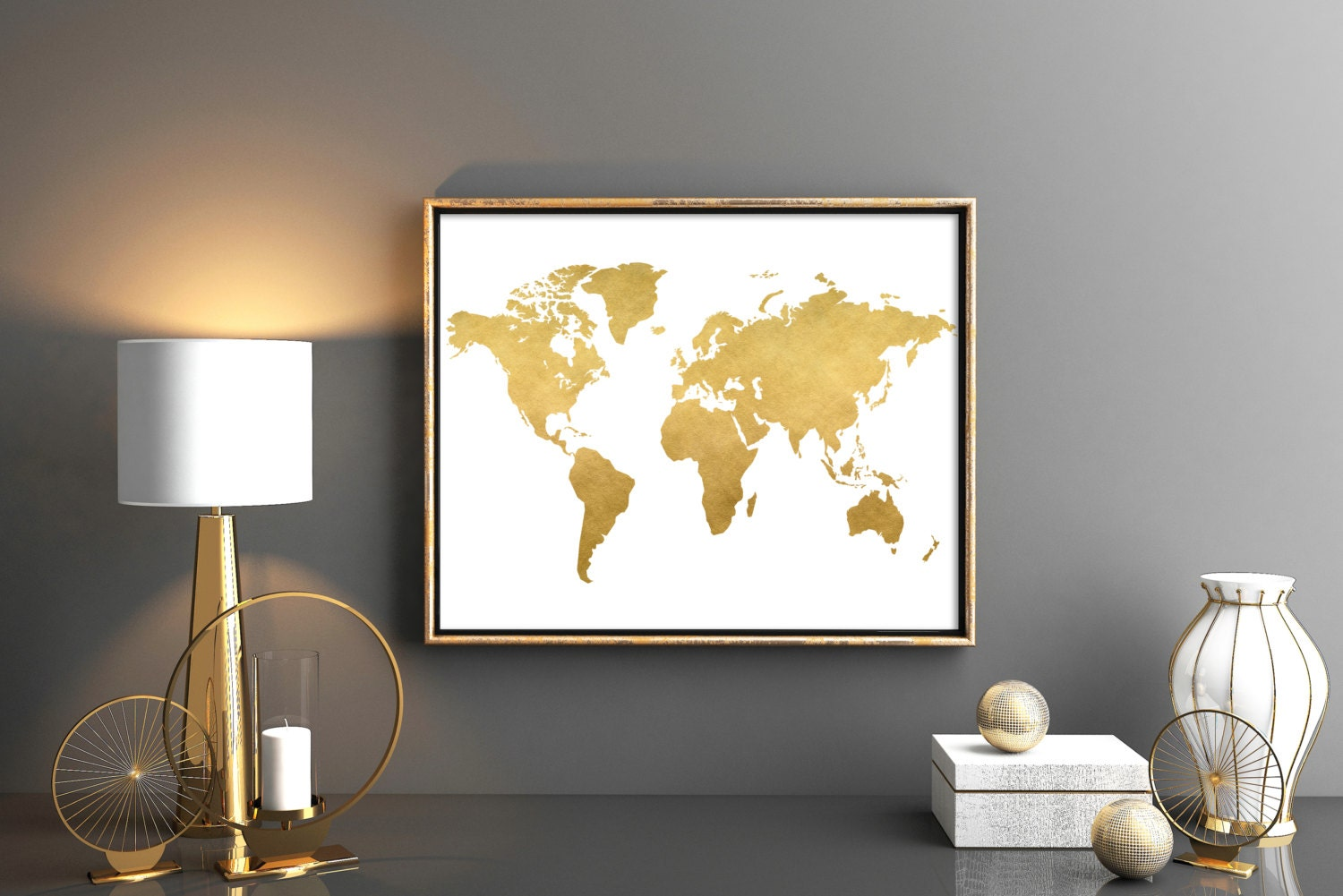 Gold World Map Poster.Gold World Map Download Map Poster Map Wall Art Digital Etsy