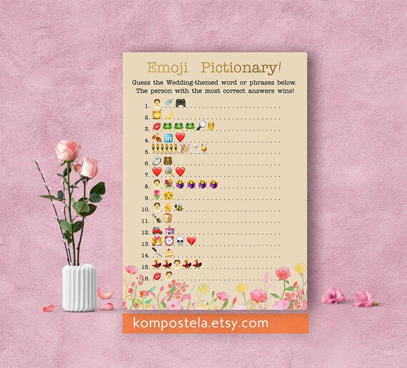 Floral wedding emoji pictionary pink floral bridal shower etsy image 0 mightylinksfo