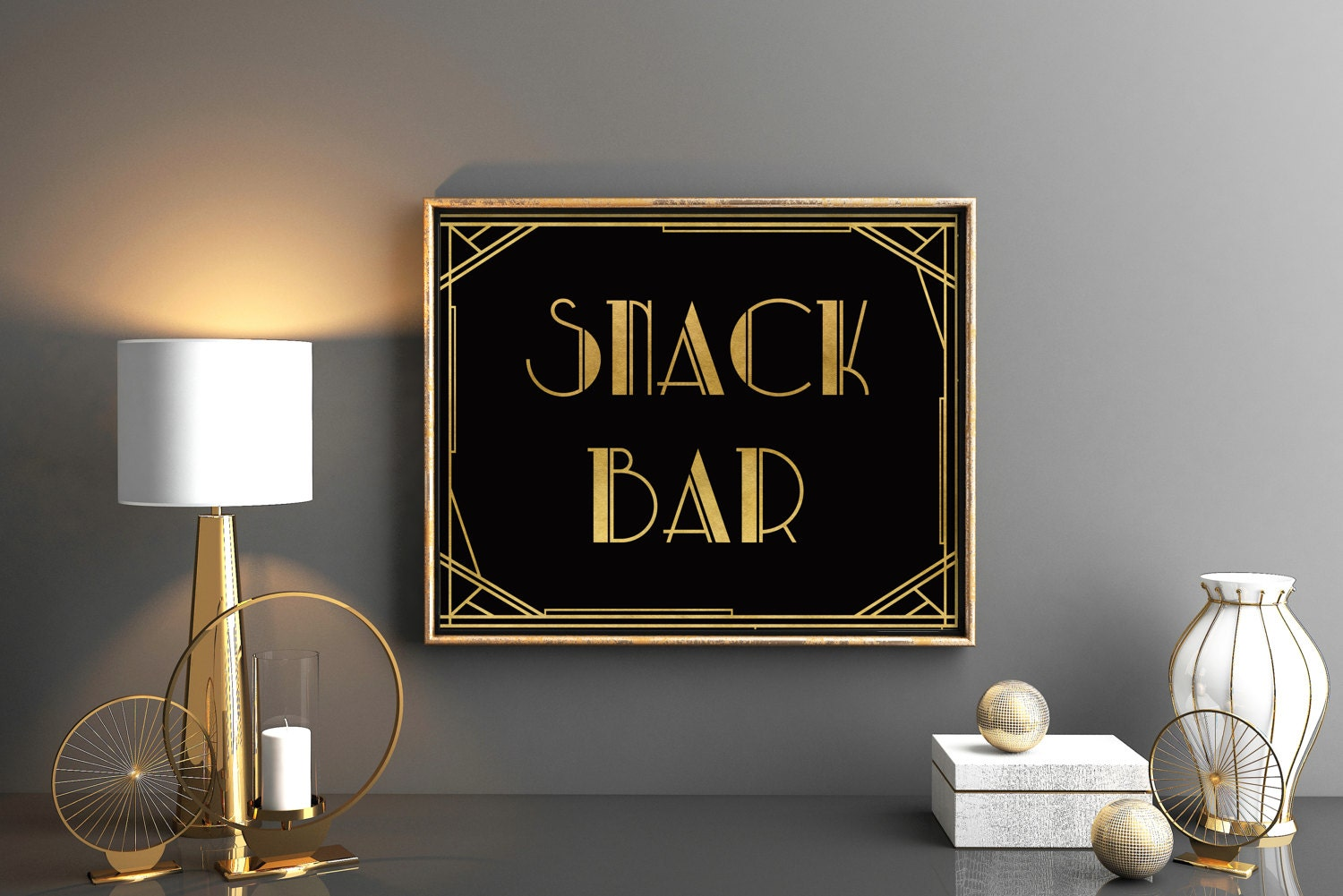 Great Gatsby party sign Snack bar art deco decor sign Roaring twenties  party sign Snack bar Prohibitions party great gatsby decorations
