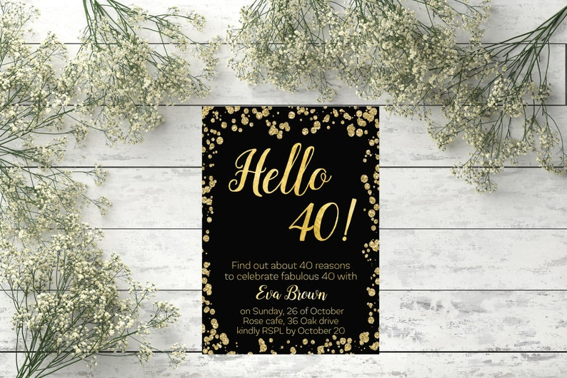 40th Birthday Invitation Gold Confetti Modern Invite Hello 40