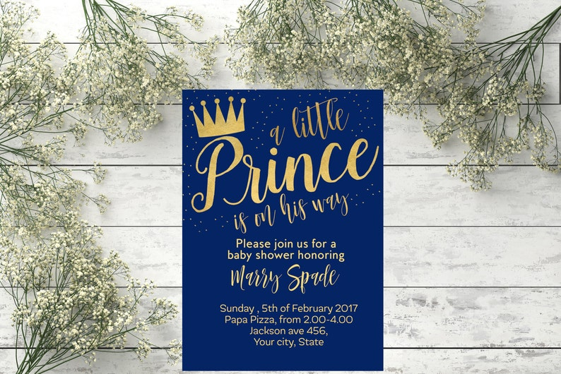 Prince Theme Invite Royal Prince Crown Invite Royal Prince Etsy